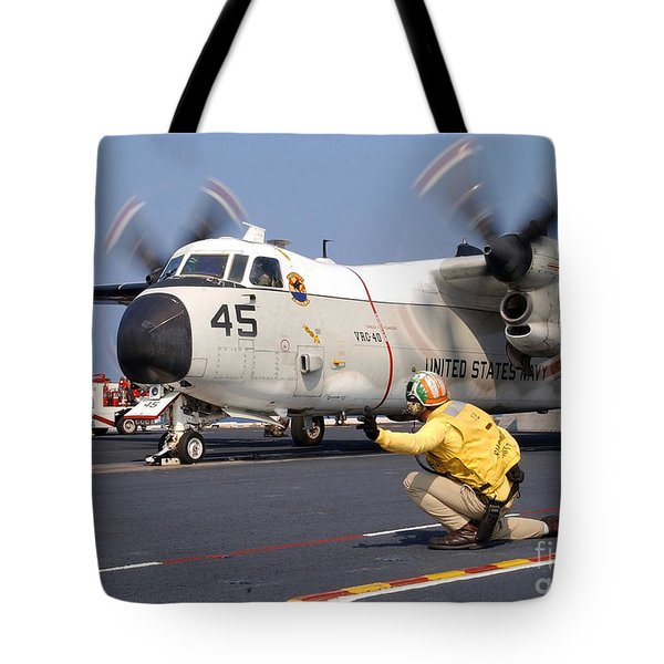 Signalman Gives The Launch Signal Tote Bag by Stocktrek Images