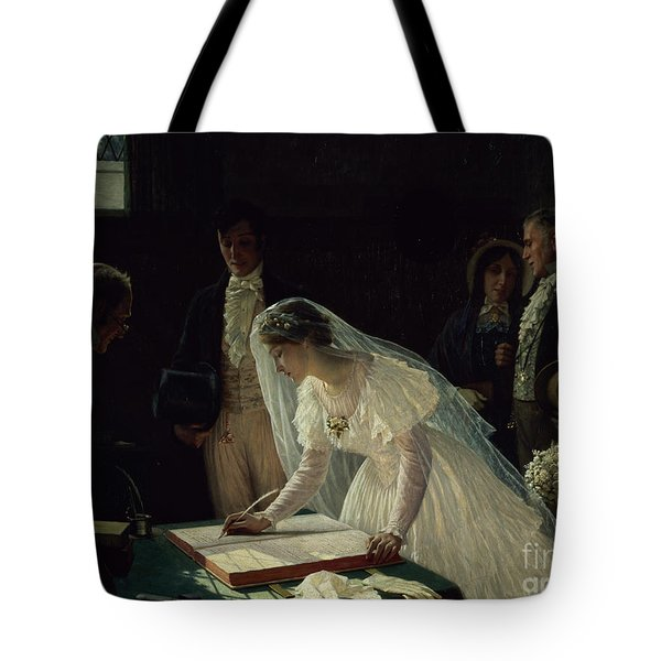 Signing The Register Tote Bag by Edmund Blair Leighton