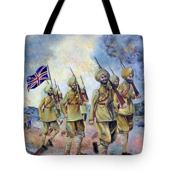Sikh Soldiers In France Ww1 Tote Bag
