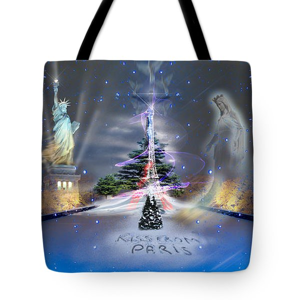 Tote Bag featuring the photograph Silent Night  A Kiss From Paris And Back by Glenn Feron