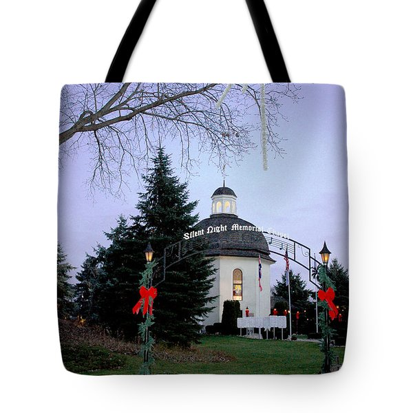 Tote Bag featuring the photograph Silent Night Chapel by LeeAnn McLaneGoetz McLaneGoetzStudioLLCcom