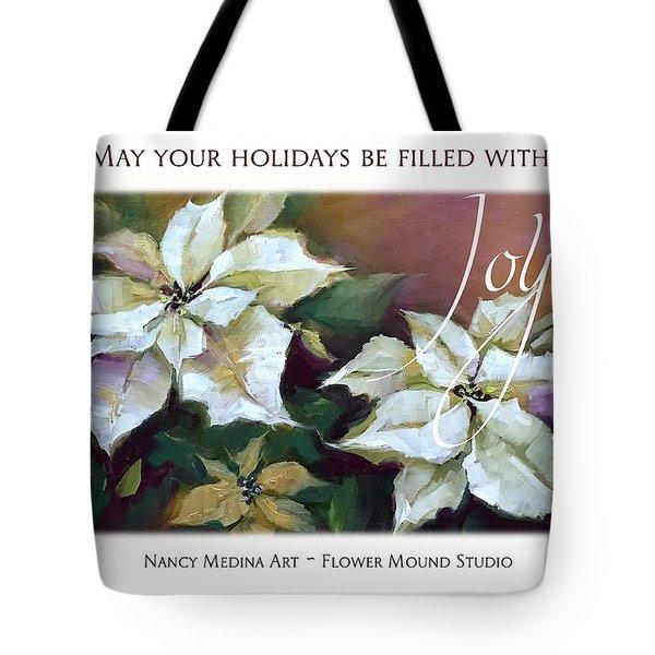 Silent Night Poinsettias Christmas Cards By Nancy Medina Art Tote Bag