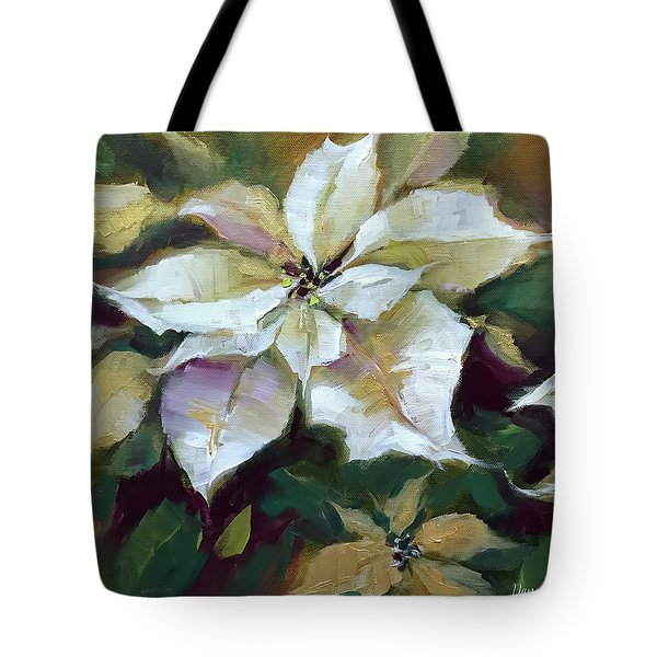 Silent Night Poinsettias In Gold Tote Bag
