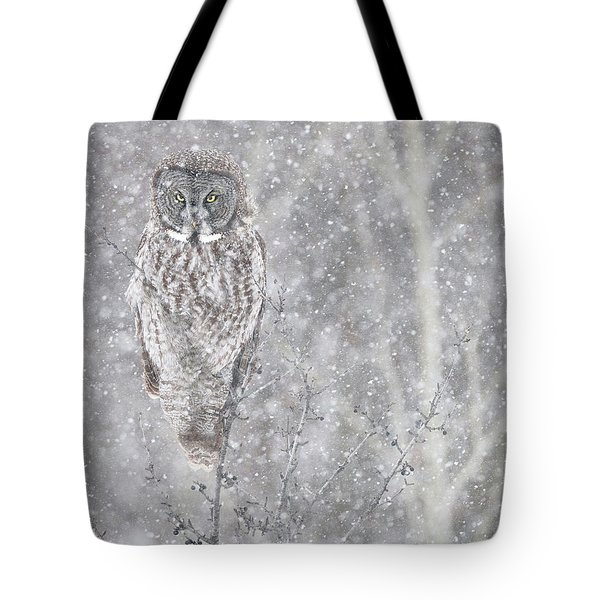 Tote Bag featuring the photograph Silent Snowfall Portrait by Everet Regal