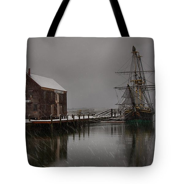 Silently The Snow Falls. Tote Bag