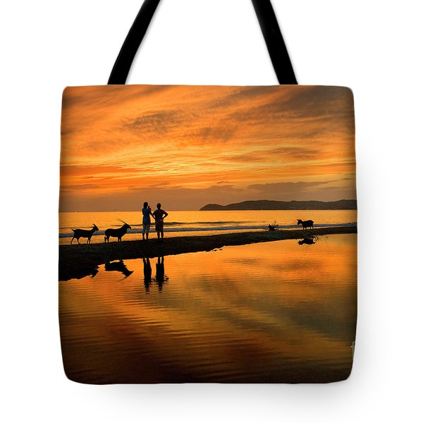 Silhouette And Amazing Sunset In Thassos Tote Bag