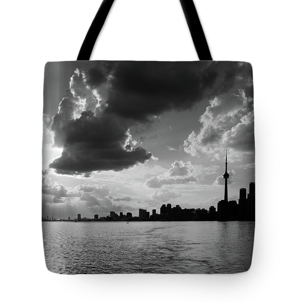 Silhouette Cn Tower Tote Bag by Nick Mares
