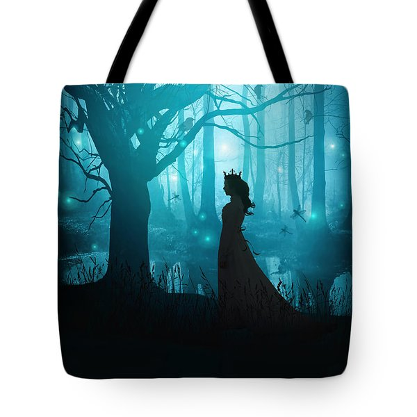 Silhouette Of A Womanin In A Forest At Twilight Tote Bag by Sandra Cunningham