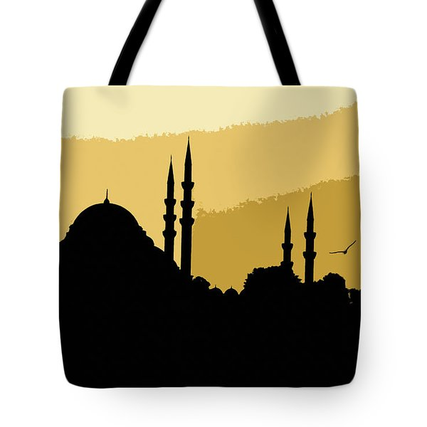 Silhouette Of Mosques In Istanbul Tote Bag