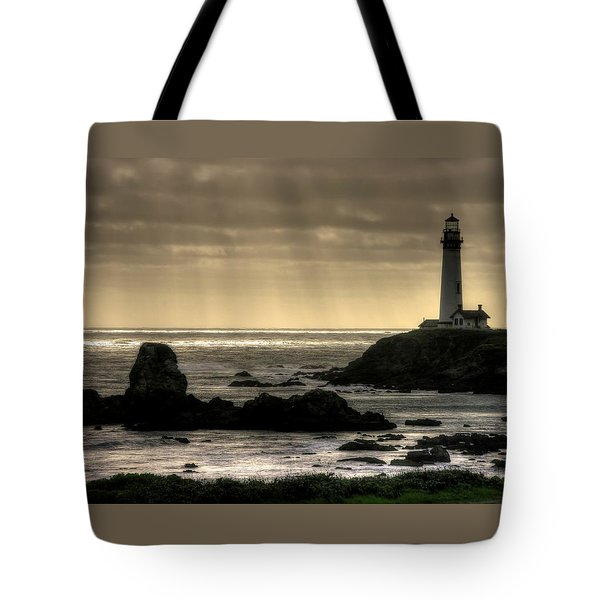 Silhouette Sentinel - Pigeon Point Lighthouse - Central California Coast Spring Tote Bag