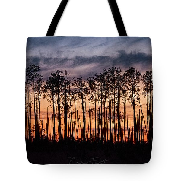 Silhouetted Sunset Tote Bag