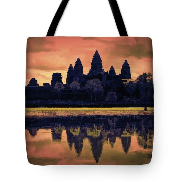 Silhouettes Angkor Wat Cambodia Mixed Media  Tote Bag
