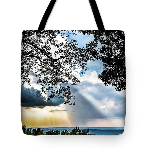 Tote Bag featuring the photograph Silhouettes At The Overlook by Shelby Young