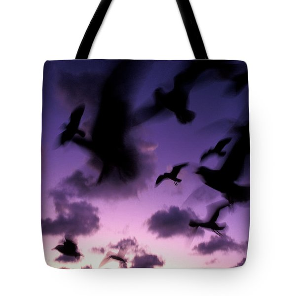 Silhouetted Gulls In Flight Tote Bag