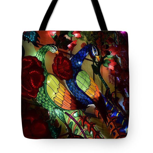 Silk Peacocks Tote Bag