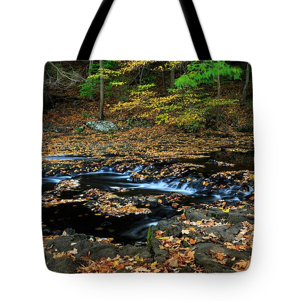 Silky New England Stream In Autum Tote Bag