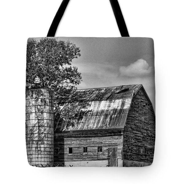 Silo Tree Black And White Tote Bag