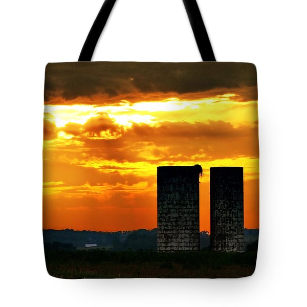 Silos At Sunset Tote Bag