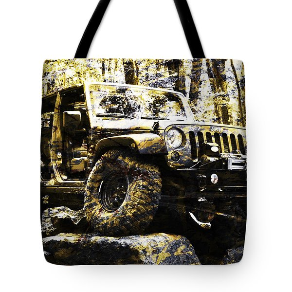 Silver And Gold Jeep Wrangler Jku Tote Bag