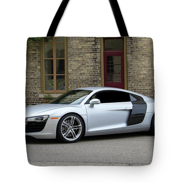 Tote Bag featuring the photograph Silver Audi R8 by Joel Witmeyer