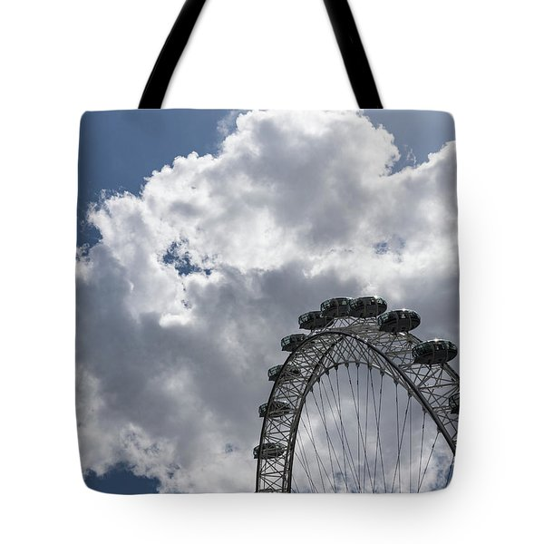 Silver, Blue And White - The London Eye Against Dramatic Sky Tote Bag