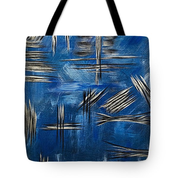 Silver/blue/black Metallic Abstract Painting Tote Bag by Renee Anderson