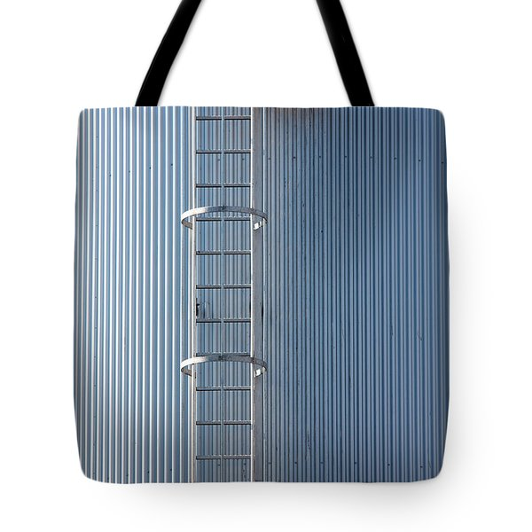 Silver Blue Silo With Steel Ladder. Tote Bag