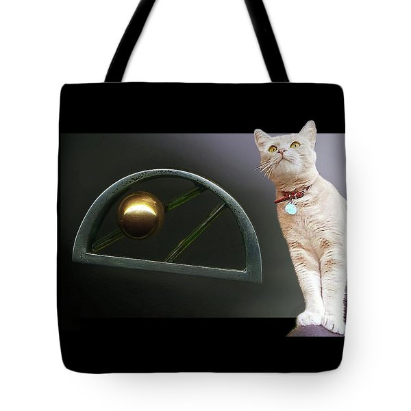 Cat, Silver And Gold  Brooch Tote Bag