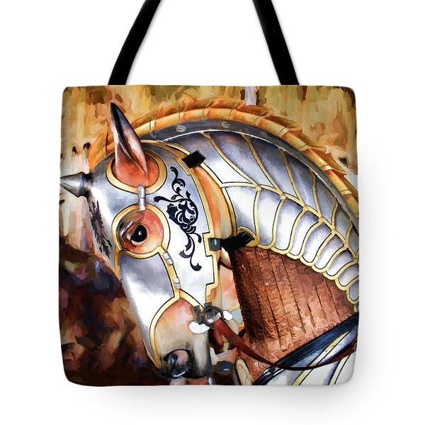 Silver Carousel Horse Tote Bag