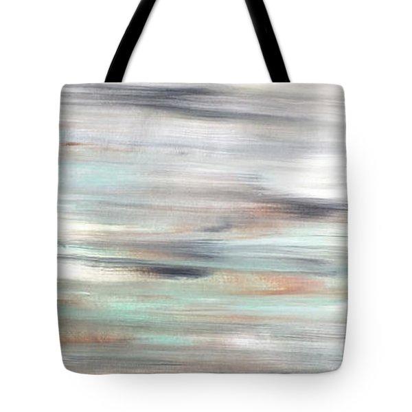 Silver Coast #25 Silver Teal Landscape Original Fine Art Acrylic On Canvas Tote Bag