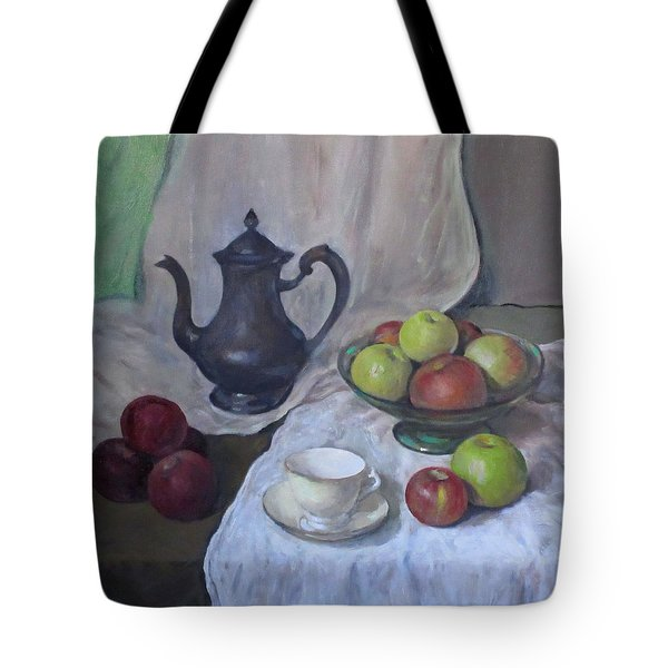 Silver Coffeepot, Apples, Green Footed Bowl, Teacup, Saucer Tote Bag