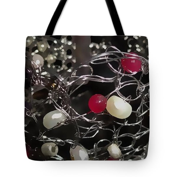 Silver Crochet Pearls And Rubies Tote Bag