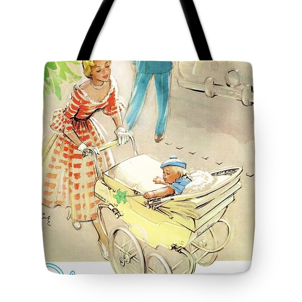 Tote Bag featuring the digital art Silver Cross Baby Coach by Reinvintaged