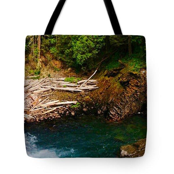 Silver Falls Panorama Tote Bag