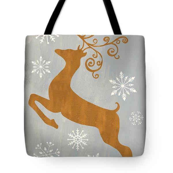 Silver Gold Reindeer Tote Bag