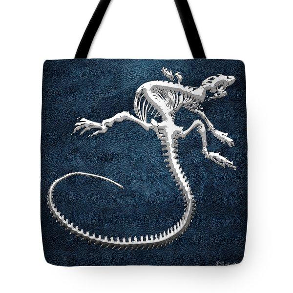 Silver Iguana Skeleton On Blue Silver Iguana Skeleton On Blue  Tote Bag