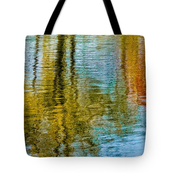 Silver Lake Autum Tree Reflections Tote Bag by Michael Bessler