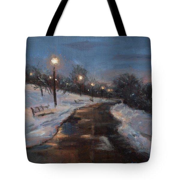Silver Lake Reservoir Tote Bag by Sarah Yuster