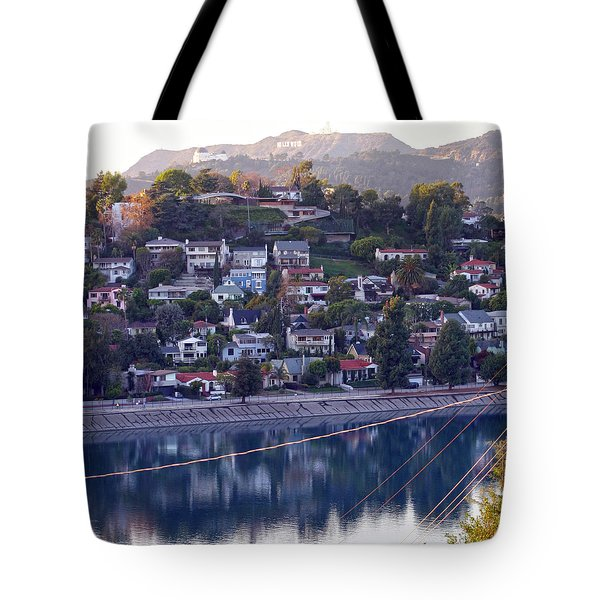 Silver Lake Reservoir With Griffith Observatory And Hollywood Sign Tote Bag