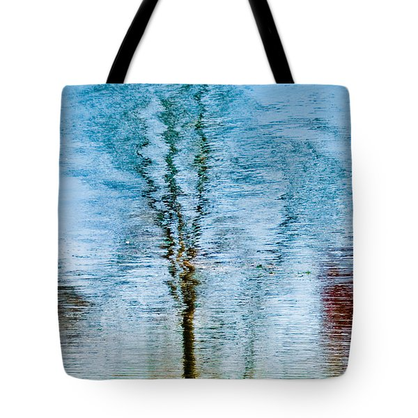 Silver Lake Tree Reflection Tote Bag by Michael Bessler