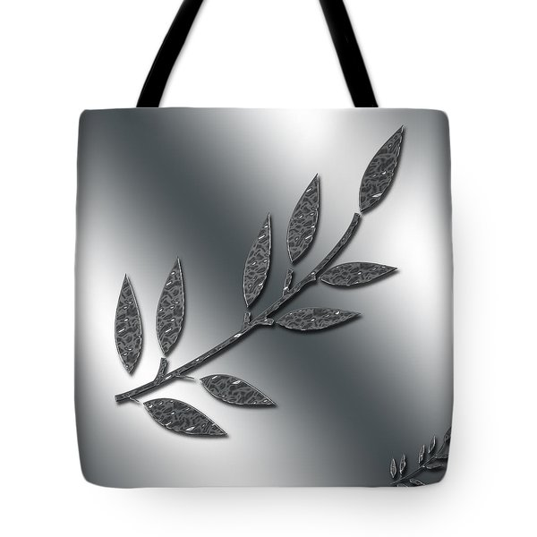 Silver Leaves Abstract Tote Bag