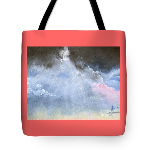 Tote Bag featuring the painting Silver Lining Behind The Dark Clouds Shining by Jane Autry