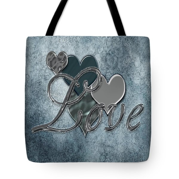 Silver Love Tote Bag by Linda Prewer