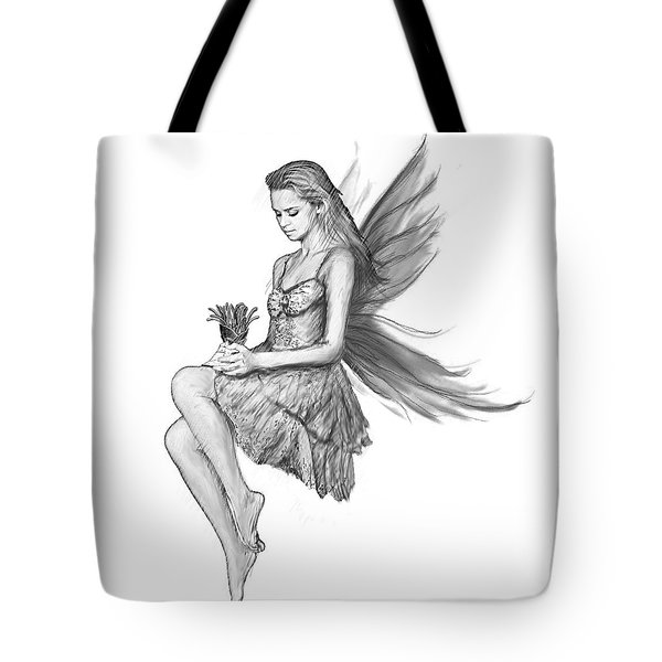 Silver Maple Fairy Holding Flower B And W Tote Bag