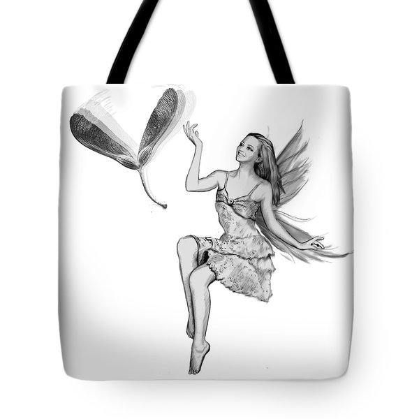 Silver Maple Fairy With Seeds B And W  Tote Bag