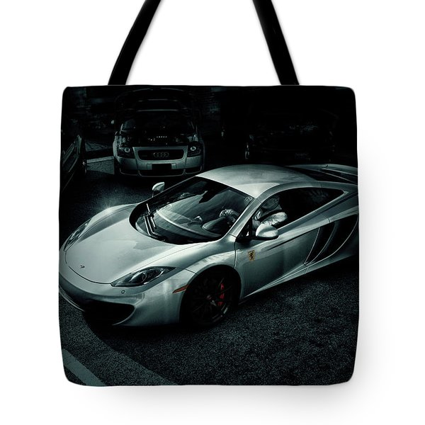 Tote Bag featuring the photograph Silver Mclaren by Joel Witmeyer