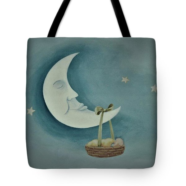 Silver Moon With Picnic Basket Tote Bag