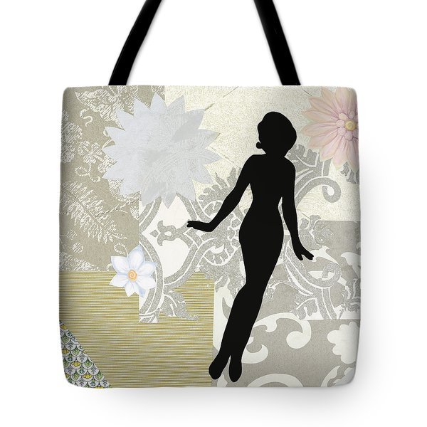 Silver Paper Doll Tote Bag