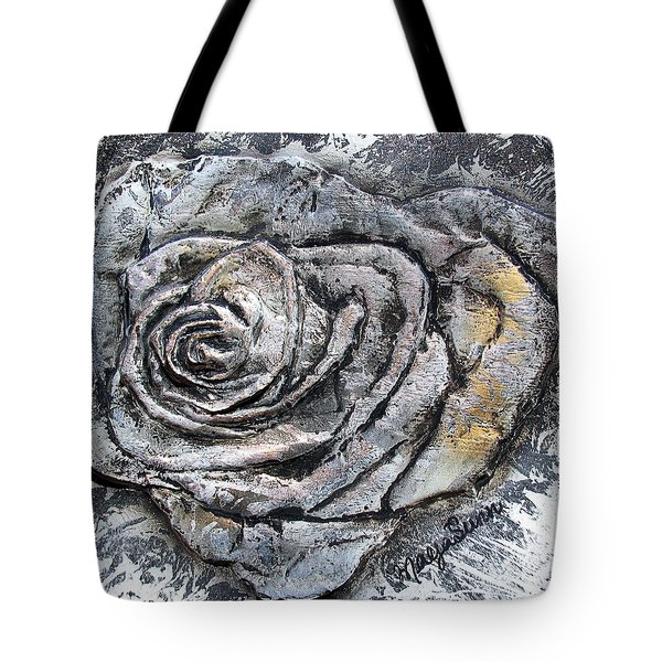 Silver Rose 3d Sculpture Painting Tote Bag