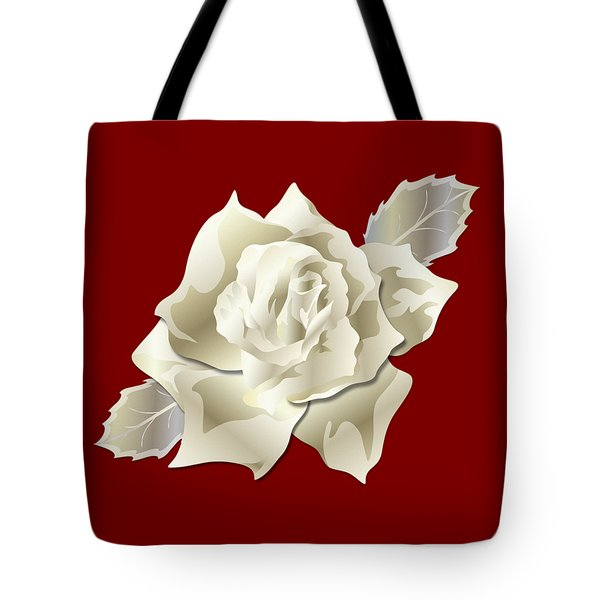 Tote Bag featuring the digital art Silver Rose Graphic by MM Anderson